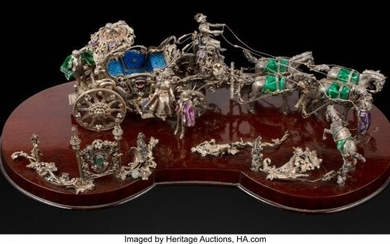 61078: An Austrian Enameled Silver Figural Group on Woo