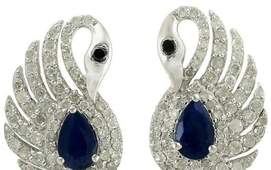 .95 Carat Blue Sapphire Diamond Swan Stud Earrings