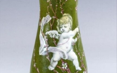 A 19Th Century French Enamel On Copper Vase