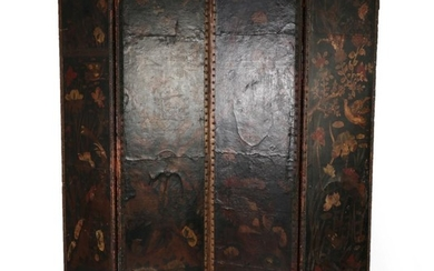 A 19th Century Four-Leaf Close-Nailed Dressing Screen, covered in Russian...