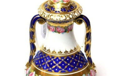 A 19th century Royal Crown Derby twin-handled porcelain covered vase,...