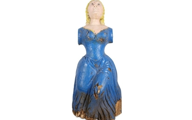 A CARVED WOOD SHIP'S FIGUREHEAD MODELLED AS A MAIDEN