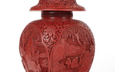 A CHINESE CARVED CINNABAR LACQUER VASE WITH COVER, 18TH-19TH CENTURY
