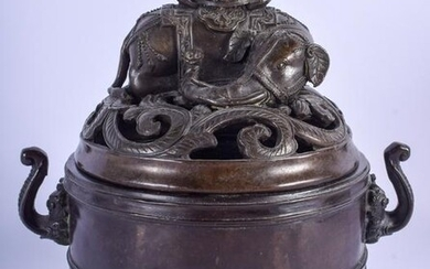 A CHINESE QING DYNASTY BRONZE CENSER AND COVER modelled