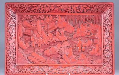 A Chinese Cinnabar Lacquer Tray, deeply carved with figures...