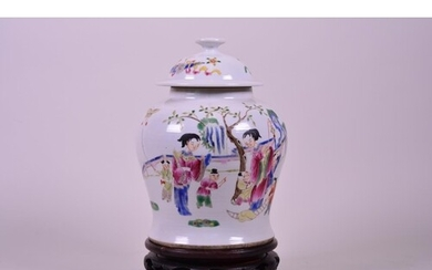 A Chinese Republic ginger jar and cover decorated with women...