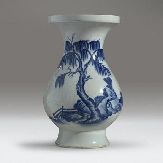 A Chinese blue and white-decorated baluster vase