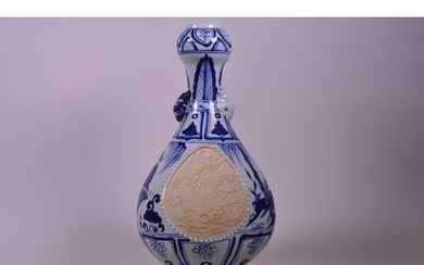 A Chinese blue and white porcelain, garlic head shaped vase ...