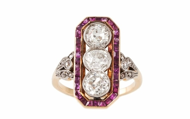 A DIAMOND AND RUBY PLAQUE RING, the central diamonds estimat...