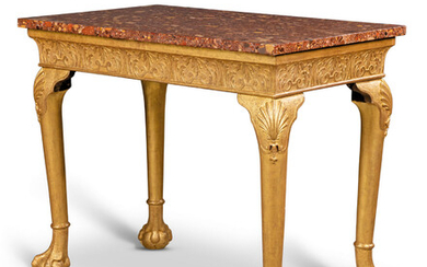 A GEORGE II GILT-GESSO AND GILTWOOD SIDE TABLE