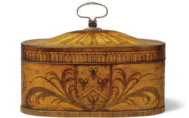 A GEORGE III TULIPWOOD-BANDED, SATINWOOD AND MARQUETRY TEA CADDY, ATTRIBUTED TO INCE & MAYHEW, CIRCA 1770