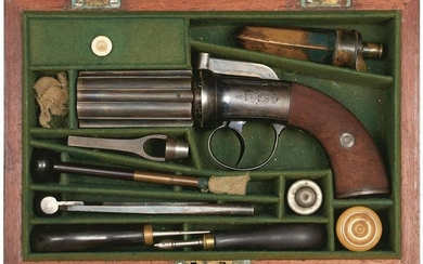A GOOD CASED 88-BORE SIX-SHOT PERCUSSION PEPPERBOX