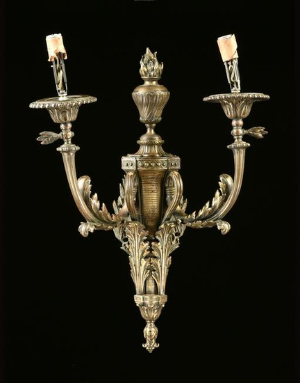 A LOUIS XVI STYLE GILT METAL DUAL LIGHT SCONCE, LATE
