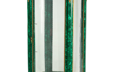 A Louis XV/XVI Transitional Style Gilt Bronze Mounted Malachite Vitrine Cabinet