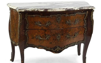 A Marble Top Bombe Commode.