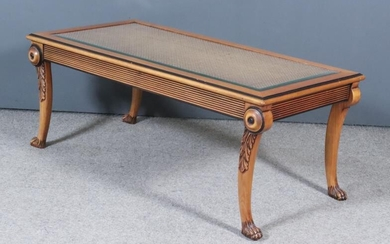 A Modern Fruitwood and Ebonised Rectangular Coffee Table, the...