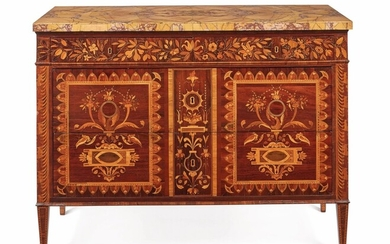 A NORTH ITALIAN NEOCLASSICAL ROSEWOOD, AMARANTH, WALNUT AND FRUITWOOD MARQUETRY COMMODE, LOMBARDY, CIRCA 1800
