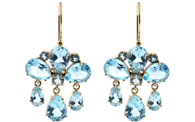 A OF PAIR GIRANDOLE STYLE 9CT GOLD GEMSET EARRINGS; each set with round and drop shape blue topaz, length 33mm.