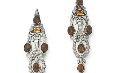 A PAIR OF ANTIQUE GEMSET EARRINGS, SPANISH in silver