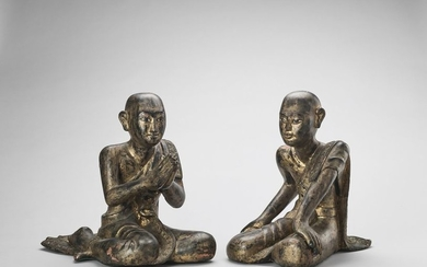 A PAIR OF CARVED AND LACQUERED WOOD WORSHIPPERS,...
