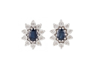 A PAIR OF DIAMOND AND SAPPHIRE EARRINGS, mounted in white go...