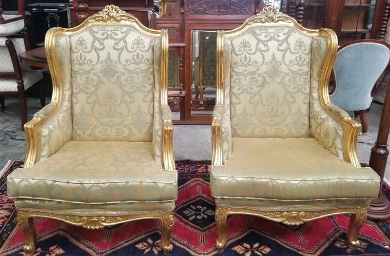 A PAIR OF FRENCH STYLE SALON CHAIRS