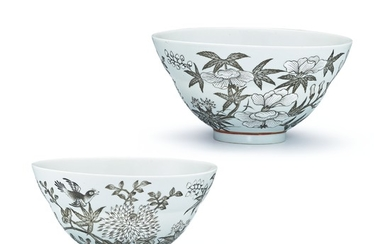 A PAIR OF GRISAILLE-DECORATED 'BIRD AND FLOWER' BOWLS YONGQING CHANGCHUN MARKS, QING DYNASTY, GUANGXU PERIOD