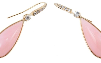 A PAIR OF PINK OPAL AND DIAMOND EARRINGS; each a 29 x 11.5 high cabochon pink opal to surmount and shepherds hook set with 8 round b...
