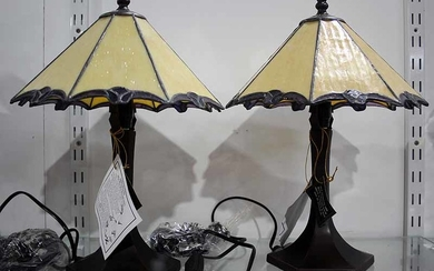 A PAIR OF TIFFANY STYLE TABLE LAMPS