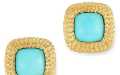 A PAIR OF TURQUOISE CLIP EARRINGS in high carat yellow