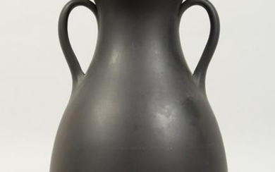 A PLAIN WEDGWOOD BLACK BASALT GRECIAN TYPE TWO-HANDLED