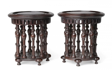 A Pair of Chinese Hardwood Pedestals, Qing Dynasty, probably 18th...