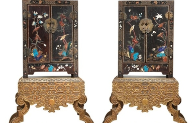 A Pair of Lacquer Cabinets on Gilt Wood Stands
