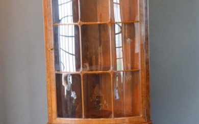 A Queen Anne Style Burr Walnut Bow-fronted Standing Corner C...