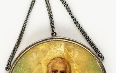 A RUSSIAN ICON PAINTED ON MOTHER OF PEARL IN A