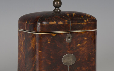 A Regency tortoiseshell and ivory banded tea caddy, the hinged lid and sides with metal stringing, t