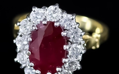 A Ruby and Diamond Ring, Modern, in 18ct yellow...