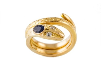 A SAPPHIRE AND DIAMOND SET RING, modelled as a snake, yellow...