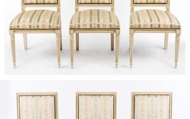 A SET OF SIX WHITE PAINTED LOUIS XVI STYLE DINING CHAIRS IN STUDDED SILK UPHOLSTERY, 92 CM H. SPECIAL NOTE REGARDING COLLECTION: TO...