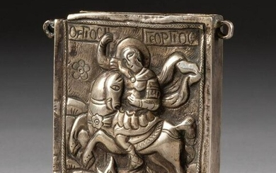 A SILVER PHYLAKTERY SHOWING STS. GEORGE SLAYING THE