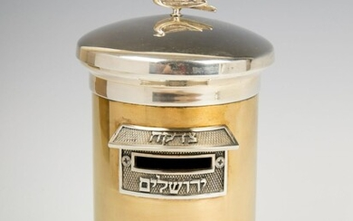A STERLING SILVER AND BRASS CHARITY CONTAINER BY SWED
