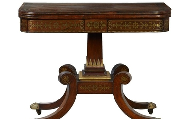A SUPERB REGENCY PERIOD ROSEWOOD CARD TABLE