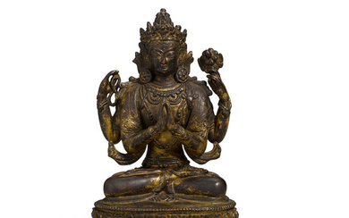 A Sino-Tibetan Gilt-Bronze Figure of Four-Armed Avalokiteshvara, Chenrizig or Shadakshari
