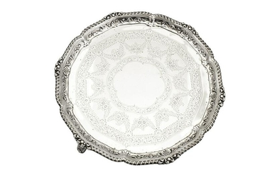 A Victorian sterling silver salver, London 1893 by
