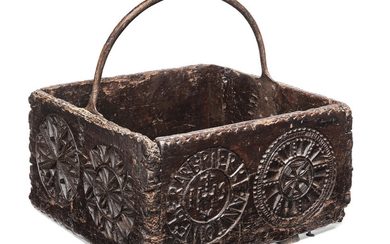 A chip-carved open box, made from 17th century boards, Swiss/French, iron carry handle