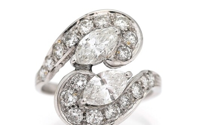 NOT SOLD. A diamond ring set with two marquise-cut diamonds weighing a total of app....
