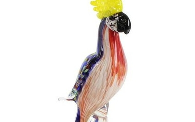 A glass figure of a parrot (Cockatoo)