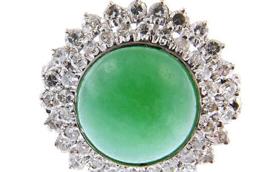 A jade and diamond cluster ring.