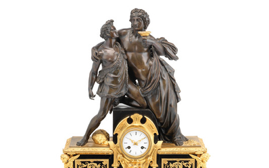 A late 19th century French, gilt and patinated bronze and black marble figural mantel clock