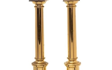 A pair of 20th Century brass column table lamps: of plain fo...